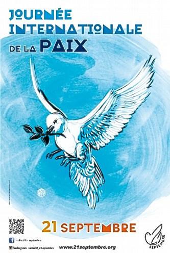 L'affiche de la Journée Internationale de la Paix, réalisée par Christian Guémy alias C215 (artiste urbain, pochoiriste) pour le Collectif 21 Septembre. Taille : 40x60 cm